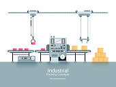 Industrial production factory conveyor flat vector illustration. Industrial technology conveyor machine for production and manufacturing process