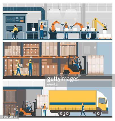 Industrial production, warehousing and logistics : stock vector