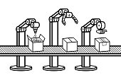 Industrial robot arm. Automated production line. Robotic industry concept