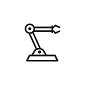Industrial robot line icon. Hand, production, industry. Machine concept. Can be used for topics like manufacture, technology, artificial intelligence