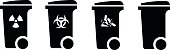 Trash/rubbish wheelie bin icons with labels: radioactive, infectious, broken glass. Plus an unlabeled.