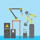 industrial welding robotic arm tyre car computer machine vector illustration