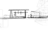 Industrial zone with buildings and cranes. Vector rendering of 3d
