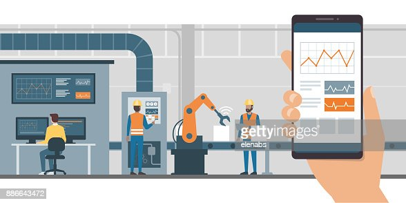 Industry 4.0 and monitoring app : stock vector