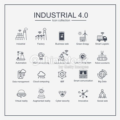Industry 4.0 and smart productions icon set: smart industrial revolution, automation, robot assistants, cloud and innovation. : stock vector