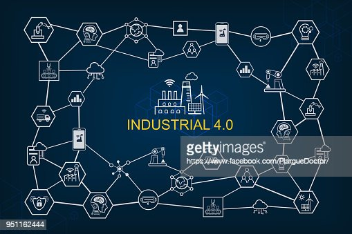 Industry 4.0 and smart productions icon set: smart industrial revolution, automation, robot assistants, cloud and innovation. : Vector Art