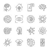 Industry 4.0, Artificial Intelligence and Internet of Things icons set. Digitalization concept enterprise IoT, smart factory, industry 4.0, AI - vector illustration EPS 10