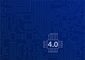 Industry 4.0 concept as vector background with circuit board / CPU illustration