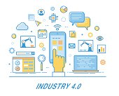 Industry 4.0. Thin line design. Infographics elements. Banner with icons. Internet of things technology.