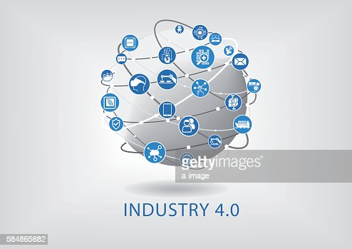 Industry 4.0 infographic. Connected smart devices with globe. : ベクトルアート