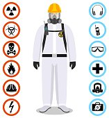 Man in white protective suit in flat style. Dangerous profession. Occupational safety and health vector icons. Set of different signs of chemical, radioactive, toxic, poisonous, hazardous substances.