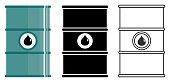 Different metal barrels for oils, toxic, hazardous, dangerous, flammable and poisonous substances. Vector illustration