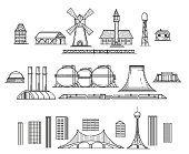 Industry hand drawn items. Architectural objects and industrial facilities. Vector illustration