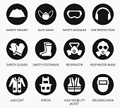 Industry health and safety protection equipment icons. Vector set of equipment for protection health, illustration equipment for industry construction
