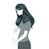 Infertility/Child Loss Concept. Sad young woman holding her imaginary belly.