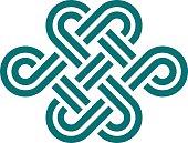 Infinite knot symbol on white background