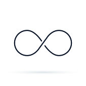 Infinity icon logo. Unlimited vector illustration, limitless symbol. Black contour of eight, thickness and style isolated on white. Symbol of repetition and unlimited cyclicity.