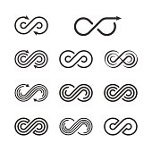 Infinity Logo Template Set. Infinite Symbol Icon Collection. Vector