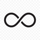 Infinity logo or infinite loop vector line icon isolated on white background