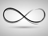 Black painted infinity sign on white background, ring, rotation, ink, emblem, painted by brush