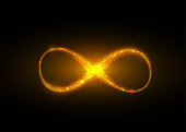 Infinity symbol background. Light yellow gold neon infinite, eternity concept with shiny fire particles. Vector illustration