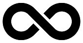 infinity symbol black - simple with discontinuation - isolated - vector illustration