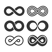 Infinity Symbol Icons Set on White Background. Vector illustration
