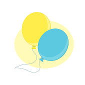 Inflatable air flying balloons for celebration. Two colorful balloons. Ornaments and decorations for birthday, new year, wedding, and other celebrations. Vector illustration isolated.