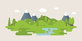 Info graphic and elements of forest with hills, rural landscape, flat design vector illustration