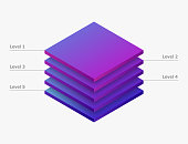 Infographic 5  leves . layer pie isometric chart