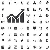 Infographic. Chart icon. Growing graph simbol. vector illustration on white background. Business set of icons