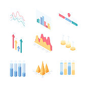 Infographic charts and diagrams - set of modern vector isometric elements isolated on white background. High quality colorful images of different graphs. Business analytics, statistics concept