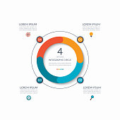 Infographic circle. 4 options, steps, parts. Business concept for diagram, graph, chart. Vector template