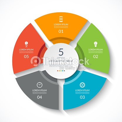 Infographic circle. Process chart. Vector diagram with 5 options. Can be used for graph, presentation, report, step options, web design. : stock vector