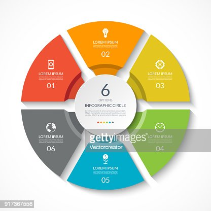 Infographic circle. Process chart. Vector diagram with 6 options. Can be used for graph, presentation, report, step options, web design. : stock vector
