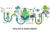 Modern flat thin line design vector illustration, infographic concept of ecology problem, green energy and alternative fuel, for graphic and web design