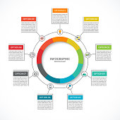 Infographic cycle diagram. Process chart with 9 options. Vector circle template for business infographics. Can be used for graph, presentation, report, step options, web design.