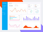 Infographic dashboard template with flat design graphs and charts. Information Graphics elements. EPS 10