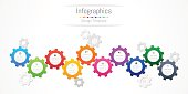 Infographic design elements for your business data with 10 options, parts, steps, timelines or processes. Gear wheel concept, Vector Illustration.