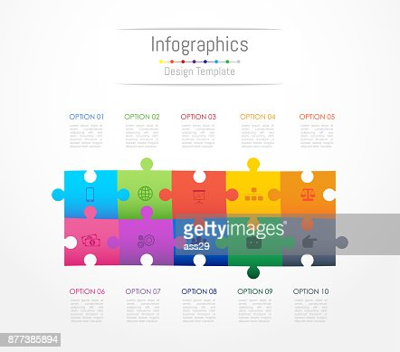 Infographic design elements for your business data with 10 options, parts, steps, timelines or processes. Jigsaw puzzle concept, Vector Illustration. : stock vector