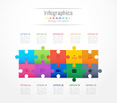 Infographic design elements for your business data with 10 options, parts, steps, timelines or processes. Jigsaw puzzle concept, Vector Illustration.