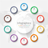 Infographic design elements for your business data with 10 options, parts, steps, timelines or processes. Vector Illustration. World map of this image furnished by NASA