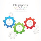 Infographic design elements for your business data with 3 options, parts, steps, timelines or processes. Gear wheel concept, Vector Illustration.