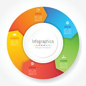 Infographic design elements for your business data with 5 options, parts, steps, timelines or processes, Arrow wheel circle style. Vector Illustration.