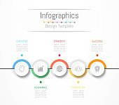 Infographic design elements for your business data with 5 options, parts, steps, timelines or processes. Vector Illustration.