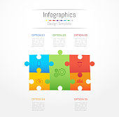 Infographic design elements for your business data with 5 options, parts, steps, timelines or processes. Jigsaw puzzle concept, Vector Illustration.
