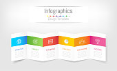 Infographic design elements for your business data with 6 options, parts, steps, timelines or processes. Brochure paper concept, Vector Illustration.