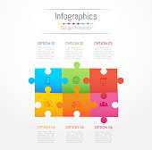 Infographic design elements for your business data with 6 options, parts, steps, timelines or processes. Jigsaw puzzle concept, Vector Illustration.