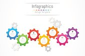 Infographic design elements for your business data with 7 options, parts, steps, timelines or processes. Gear wheel concept, Vector Illustration.