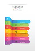 Infographic design elements for your business data with 7 options, parts, steps, timelines or processes, Sticky note paper concept. Vector Illustration.